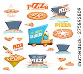 vector set of pizza icons ...   Shutterstock .eps vector #275892809