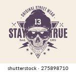dotwork style skull with... | Shutterstock .eps vector #275898710
