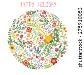 flowers berries green branches... | Shutterstock .eps vector #275910053