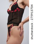 attractive brunette in red and... | Shutterstock . vector #275913704