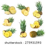 pineapple set isolated | Shutterstock . vector #275931593