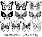 set of ten black ornamental... | Shutterstock .eps vector #275941616