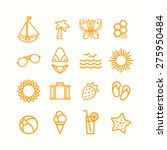 summer themed icons set | Shutterstock .eps vector #275950484