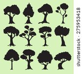 tree silhouettes collection | Shutterstock .eps vector #275953418