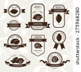 lemon labels. fruits badges and ...   Shutterstock .eps vector #275968280