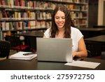 cute female college student... | Shutterstock . vector #275972750