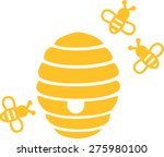 beehive with bees | Shutterstock .eps vector #275980100