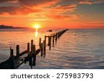 Setting sun at the Great Salt Lake, Utah, USA. - stock photo