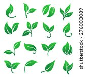 green leaves icons set. | Shutterstock .eps vector #276003089