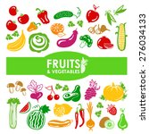 fruits and vegetables icons on... | Shutterstock .eps vector #276034133