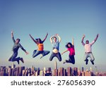 Cheerful People Jumping...