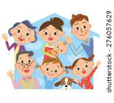 close three generation family... | Shutterstock .eps vector #276057629