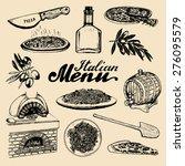 hand sketched italian menu.... | Shutterstock .eps vector #276095579