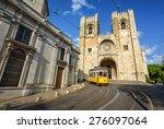 old tram in front of cathedral... | Shutterstock . vector #276097064