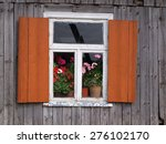 window with red shutters on... | Shutterstock . vector #276102170