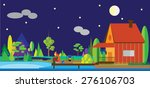 flat forest  fishing  night.... | Shutterstock .eps vector #276106703