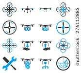 flying drone flat bicolor icons.... | Shutterstock .eps vector #276112883