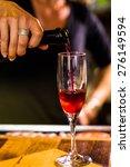 bartender making bellini... | Shutterstock . vector #276149594