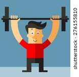 hipster man  lifting weights... | Shutterstock .eps vector #276155810