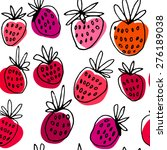 seamless strawberry hand drawn... | Shutterstock .eps vector #276189038
