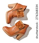 Brown Female  Boots Isolated O...