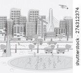 american city. boston city. in...   Shutterstock . vector #276312374