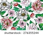 painting peonies flowers... | Shutterstock .eps vector #276355244