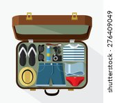 packed suitcase for summer... | Shutterstock .eps vector #276409049