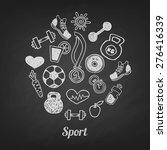 sport hand drawn set vector... | Shutterstock .eps vector #276416339