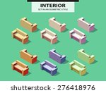 set of the isolated sofas with... | Shutterstock .eps vector #276418976