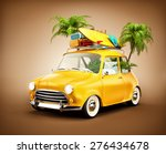 funny retro car with surfboard  ... | Shutterstock . vector #276434678