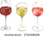 A Set Of Watercolour Wine...