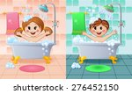 boy and girl in the bathroom | Shutterstock .eps vector #276452150