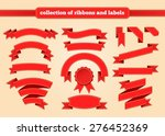 set of red ribbons and labels | Shutterstock .eps vector #276452369