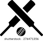 crossed cricket bats with ball | Shutterstock .eps vector #276471356