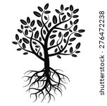 black vector tree and roots | Shutterstock .eps vector #276472238