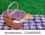 wood picnic basket with two... | Shutterstock . vector #276503393