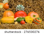 Different Colorful Gourds And...