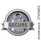 secure badge with padlock in... | Shutterstock .eps vector #27653851