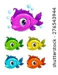 cartoon cute fish  different...