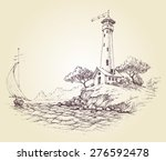 lighthouse vector drawing ... | Shutterstock .eps vector #276592478