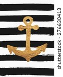 Gold Foil Anchor On Black Brus...