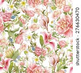 watercolor floral pattern and... | Shutterstock . vector #276630470