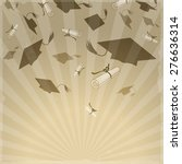 graduation caps and diplomas on ... | Shutterstock .eps vector #276636314