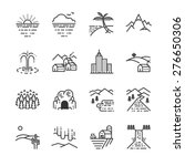 travel locations line icon set. ... | Shutterstock .eps vector #276650306