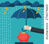 a businessman with umbrella... | Shutterstock .eps vector #276674663