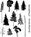 illustration with trees set... | Shutterstock .eps vector #27668146