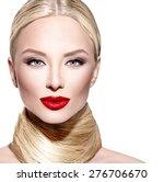 Beautiful Woman With Long Blon...