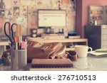 stationery focused on pen in... | Shutterstock . vector #276710513