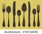 Hand Drawn Spoon  Fork And...